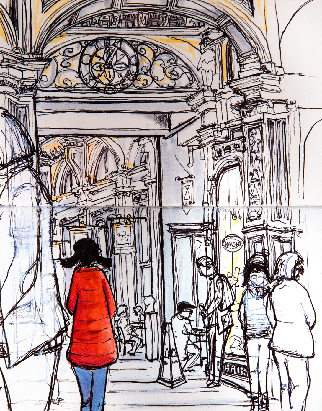 5-first-day-out-with-melb-urban-sketchers-red-coat